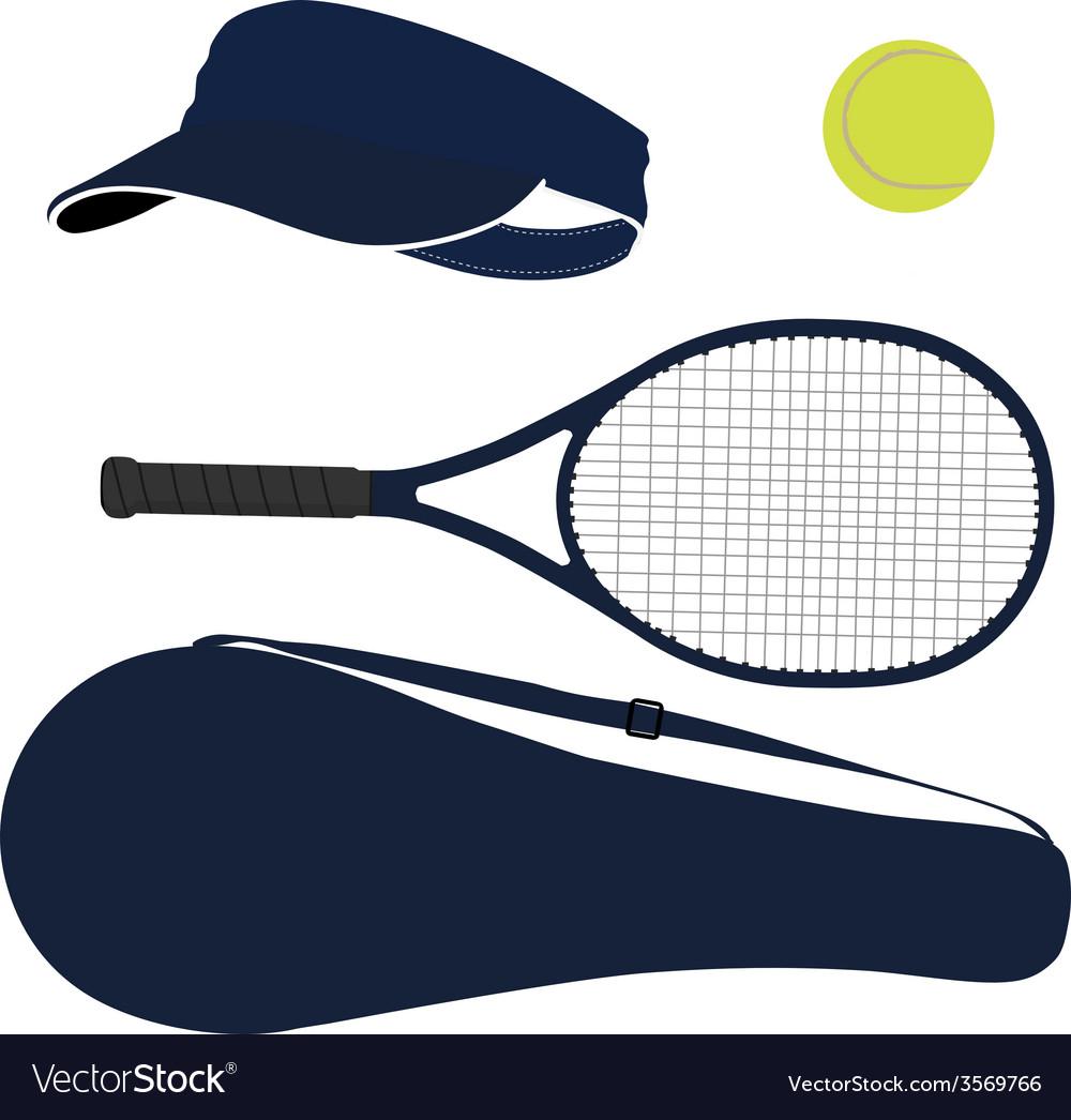 Tennis equipment blue set vector | Price: 1 Credit (USD $1)