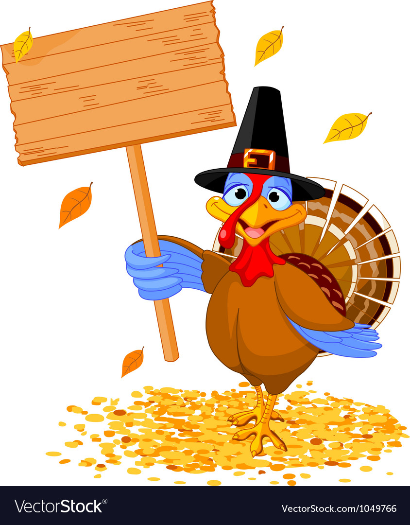 Thanksgiving turkey holding sign vector | Price: 3 Credit (USD $3)