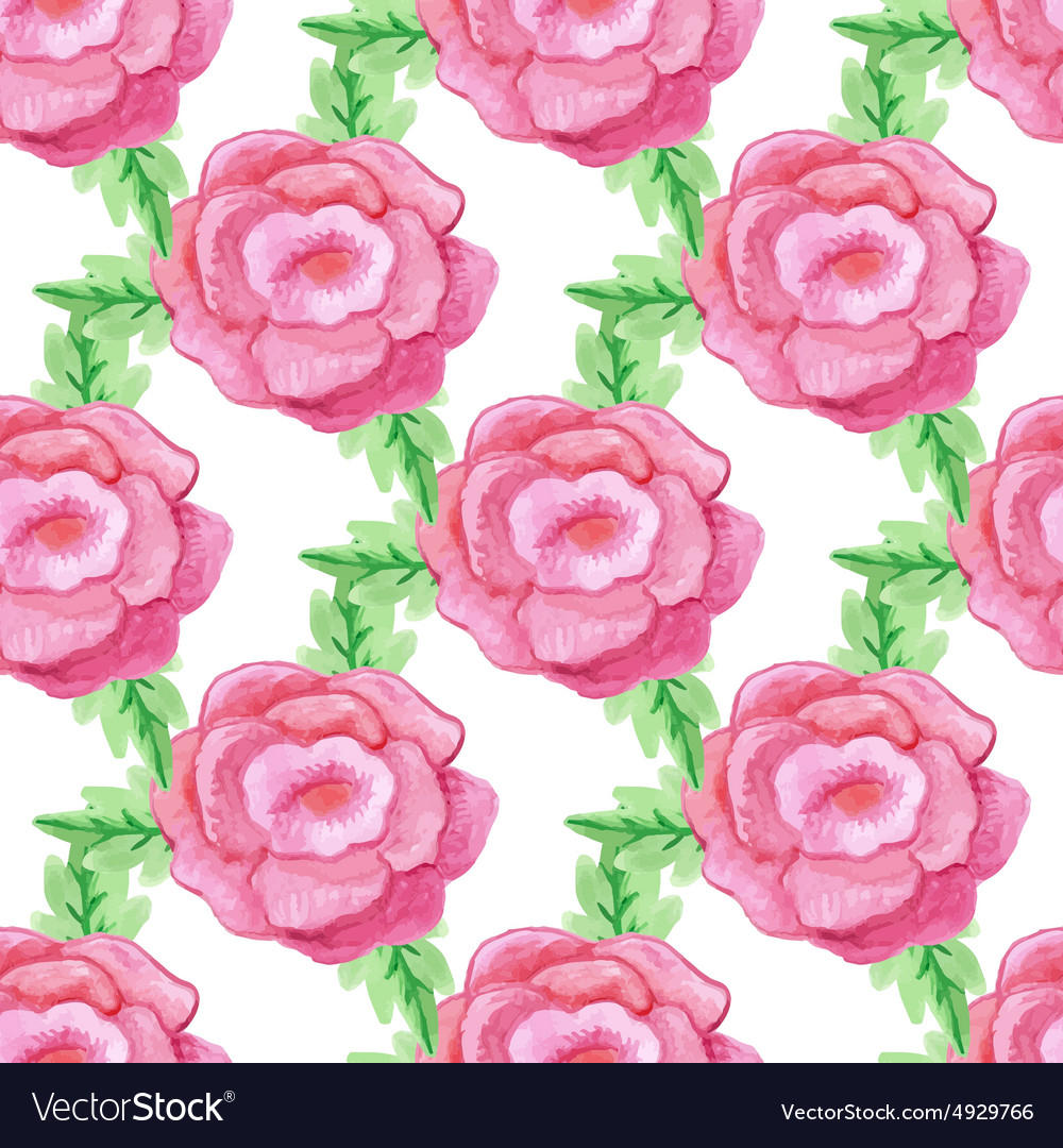 Watercolor handdrawn rose flowers seamless vector