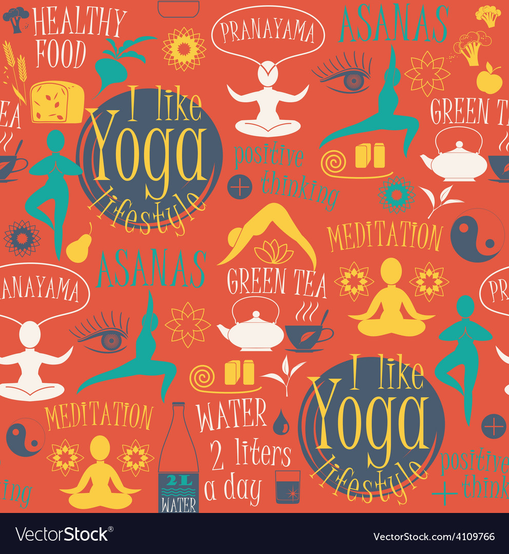 Yoga lifestyle seamless pattern vector | Price: 1 Credit (USD $1)