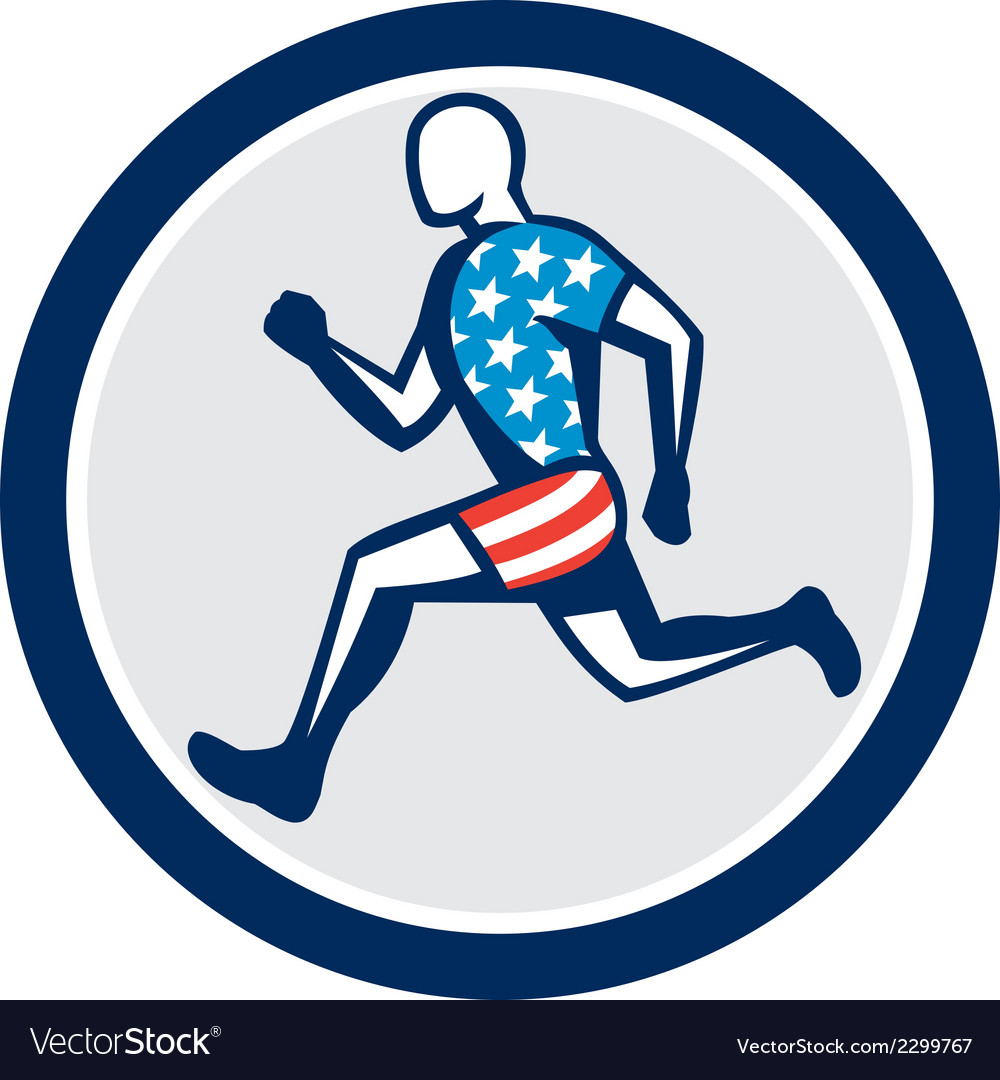 American sprinter runner running side view retro vector | Price: 1 Credit (USD $1)