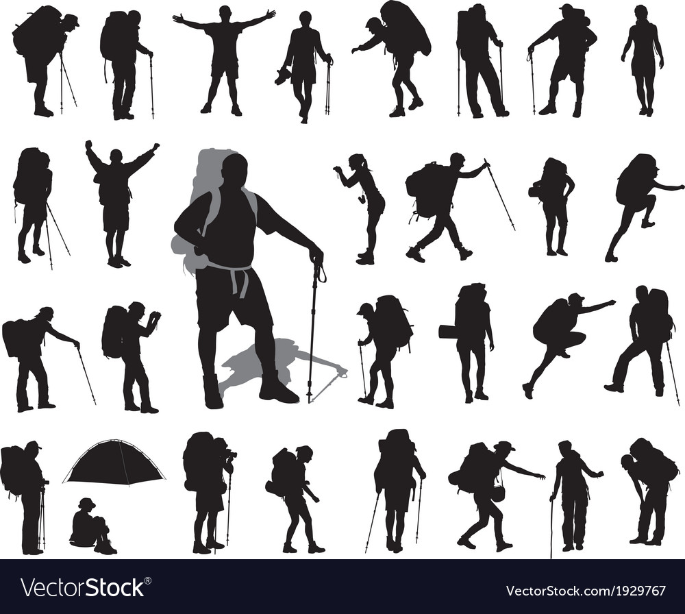 Backpacker set vector