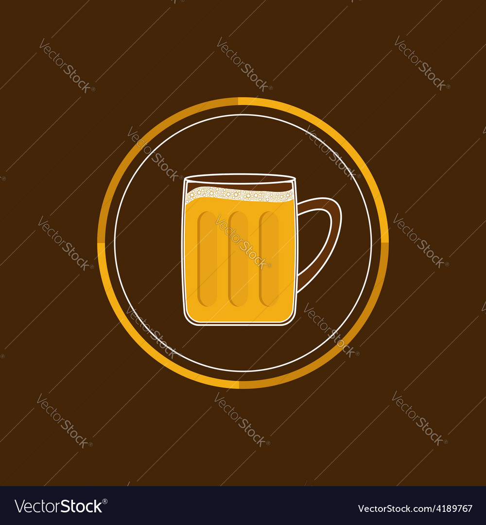 Beer glass mug round icon with foam cap froth vector | Price: 1 Credit (USD $1)