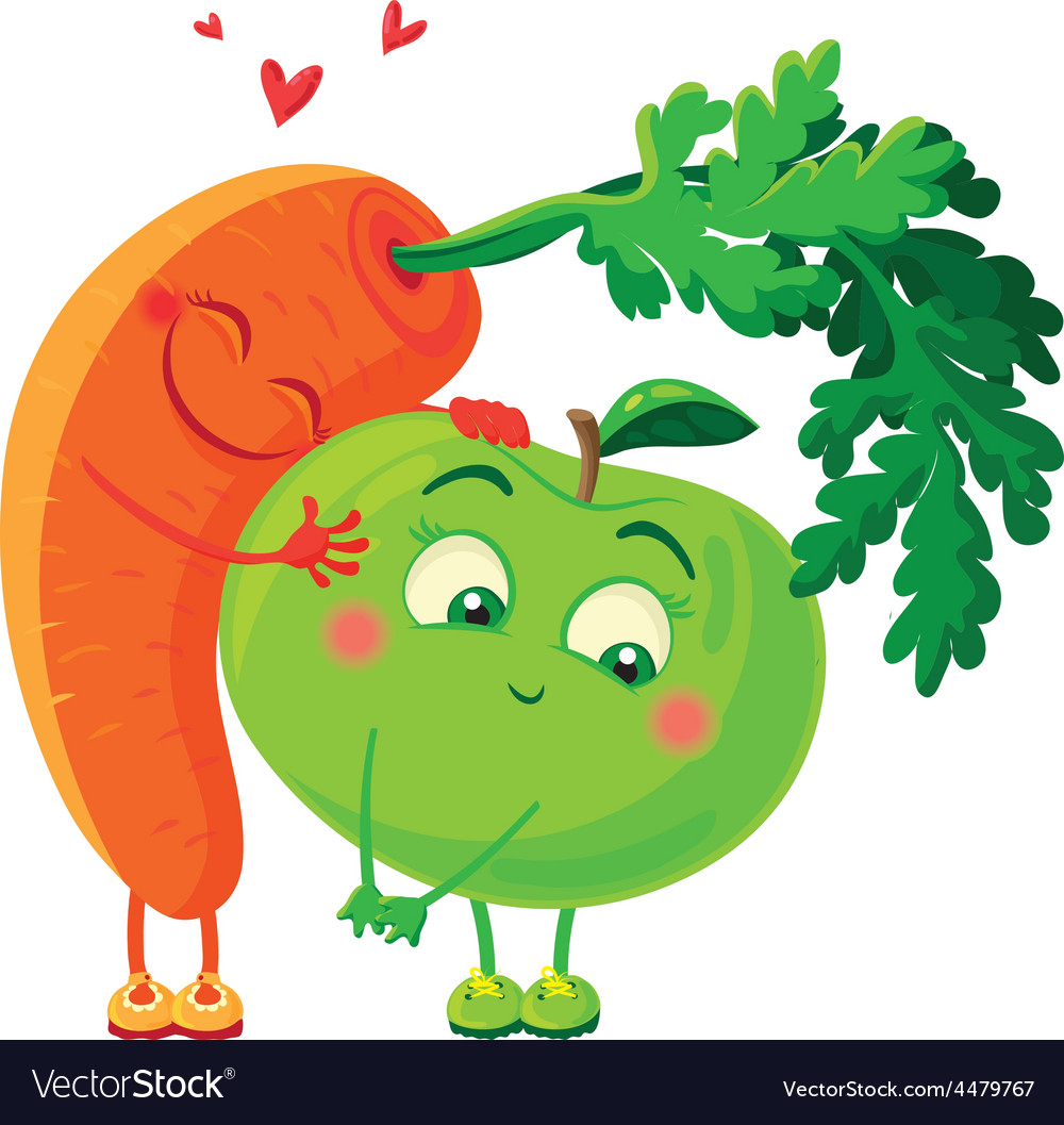Carrots in love with the apple vegetables hug vector | Price: 1 Credit (USD $1)