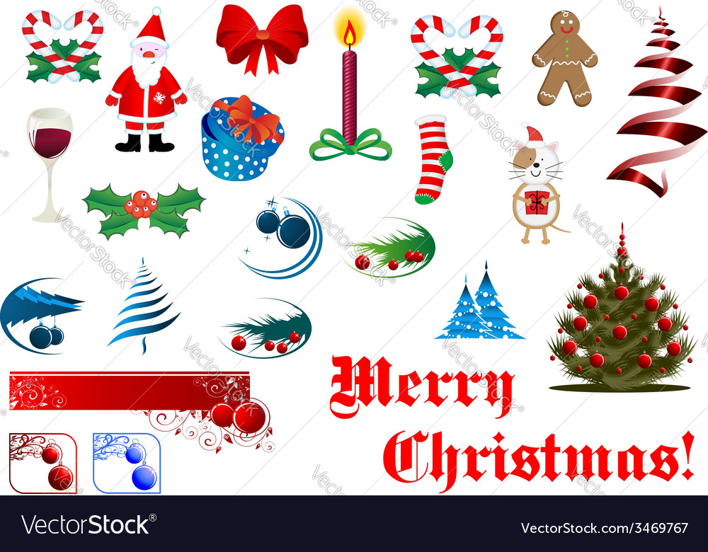 Christmas and new year items set vector | Price: 1 Credit (USD $1)