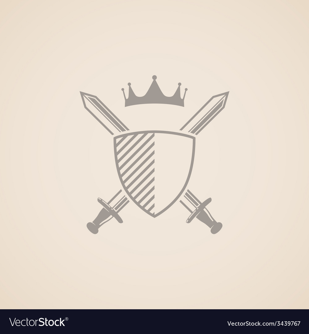 Coat of arms with shield swords and crown vector | Price: 1 Credit (USD $1)