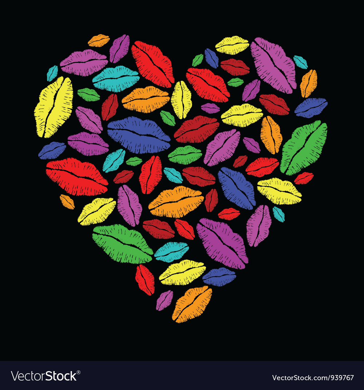 Colorful lipstick heart vector | Price: 1 Credit (USD $1)