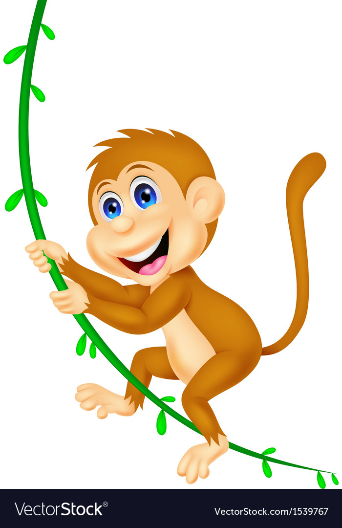 Cute monkey cartoon swinging vector | Price: 1 Credit (USD $1)