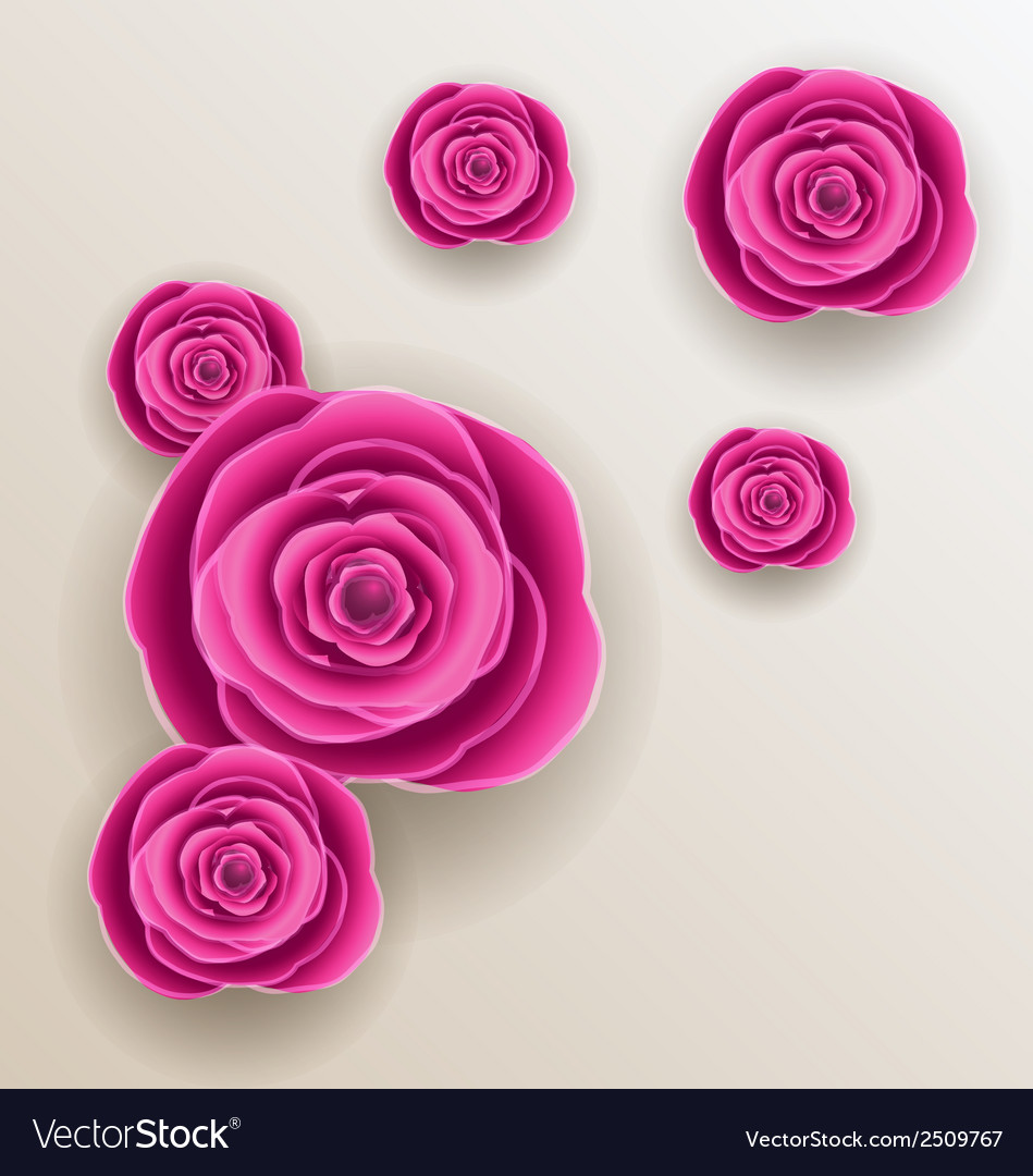 Cutout flowers - beautiful roses paper craft vector | Price: 1 Credit (USD $1)