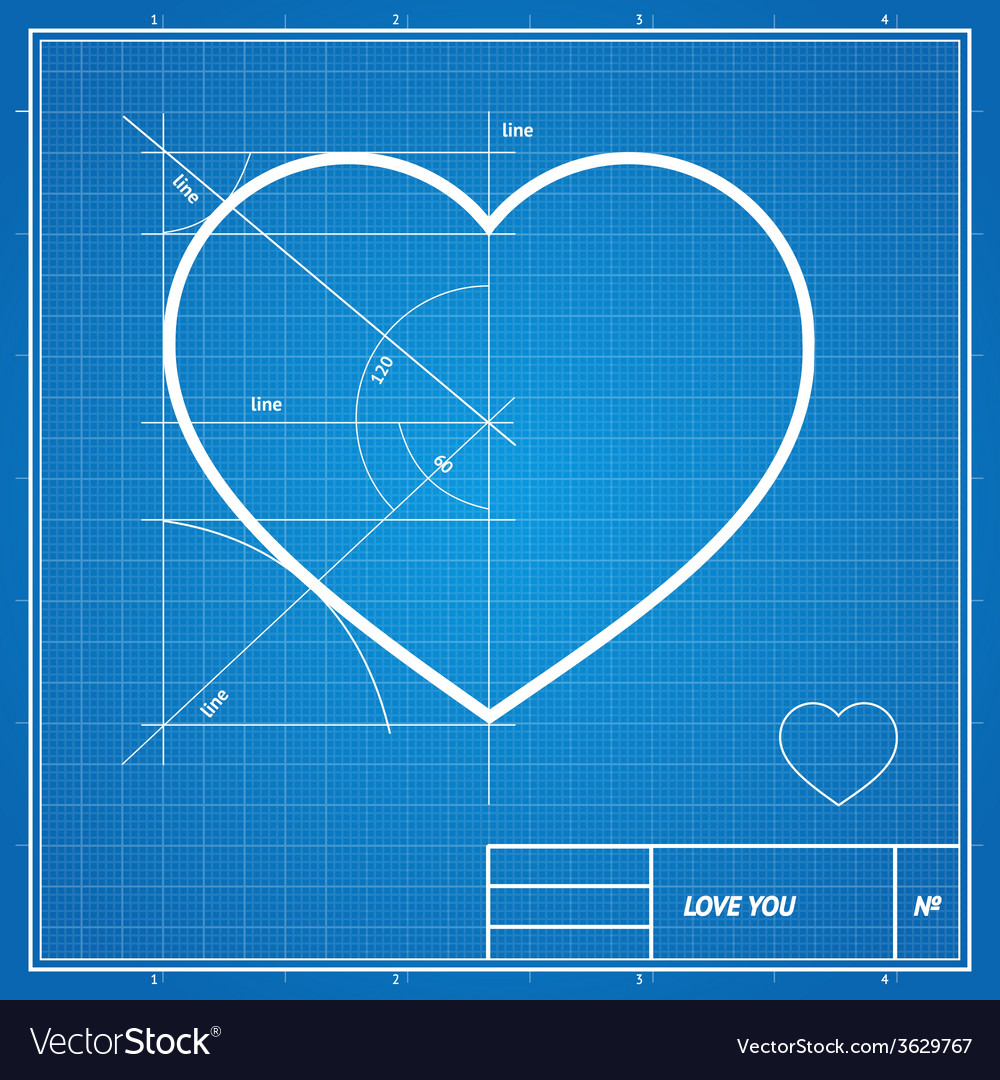 Holiday card heart on blueprint paper vector | Price: 1 Credit (USD $1)