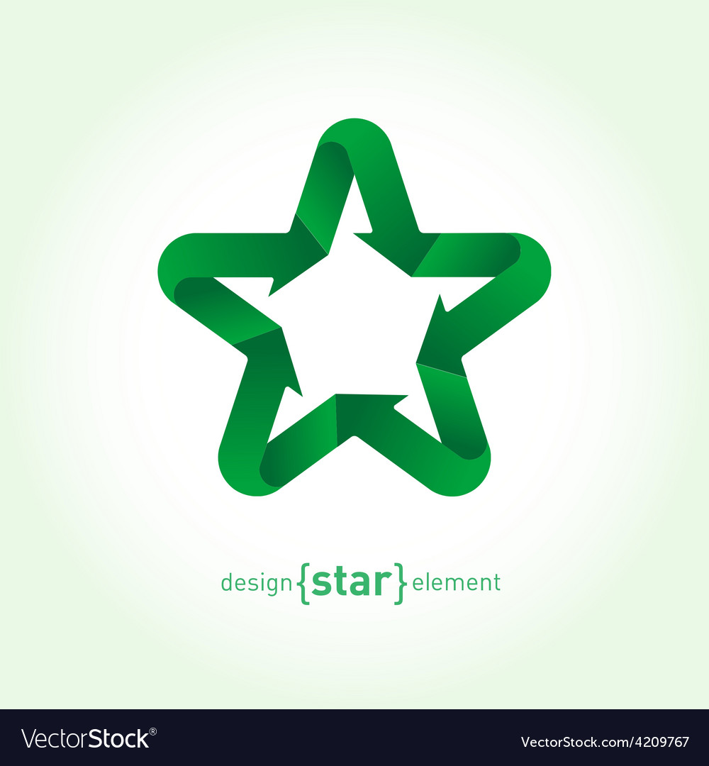 Recycle green star with arrows vector | Price: 1 Credit (USD $1)