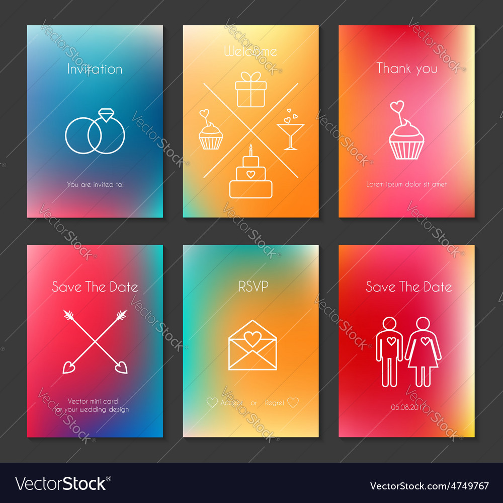 Set of blurred wedding cards vector | Price: 1 Credit (USD $1)