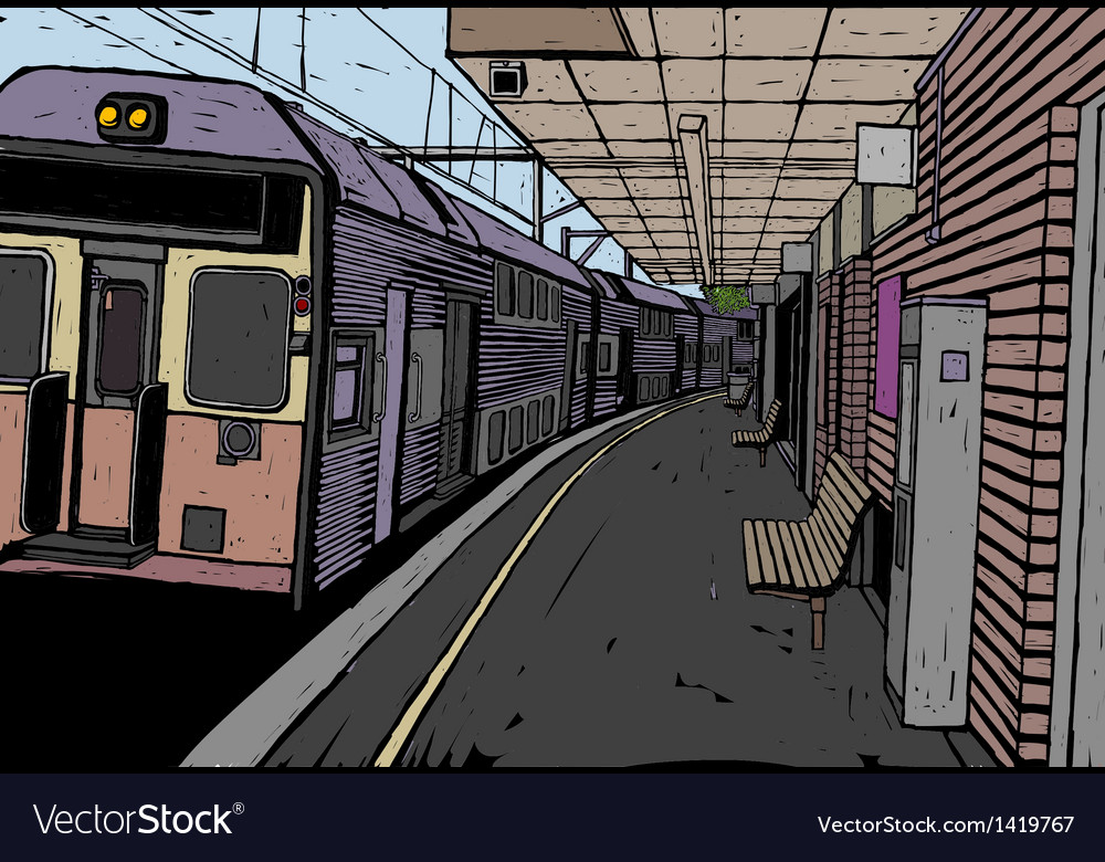 Train station background vector | Price: 1 Credit (USD $1)