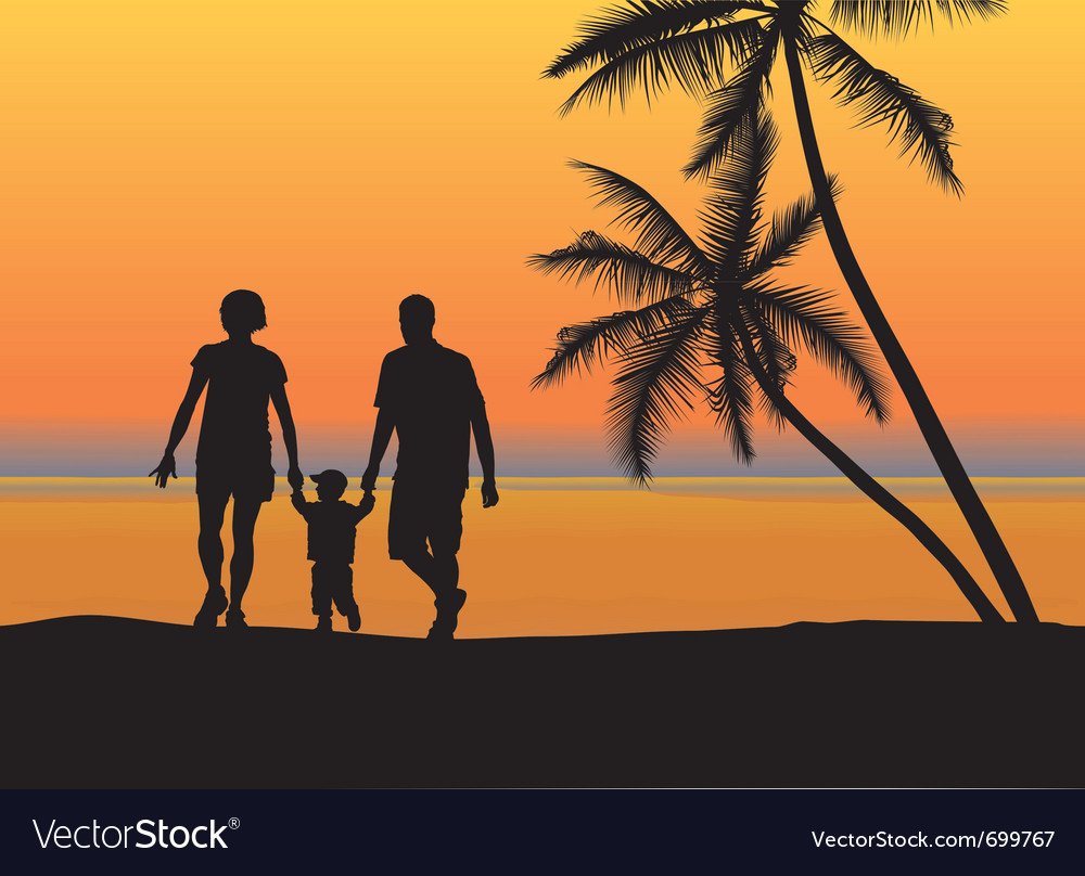 Young family on the beach vector | Price: 1 Credit (USD $1)