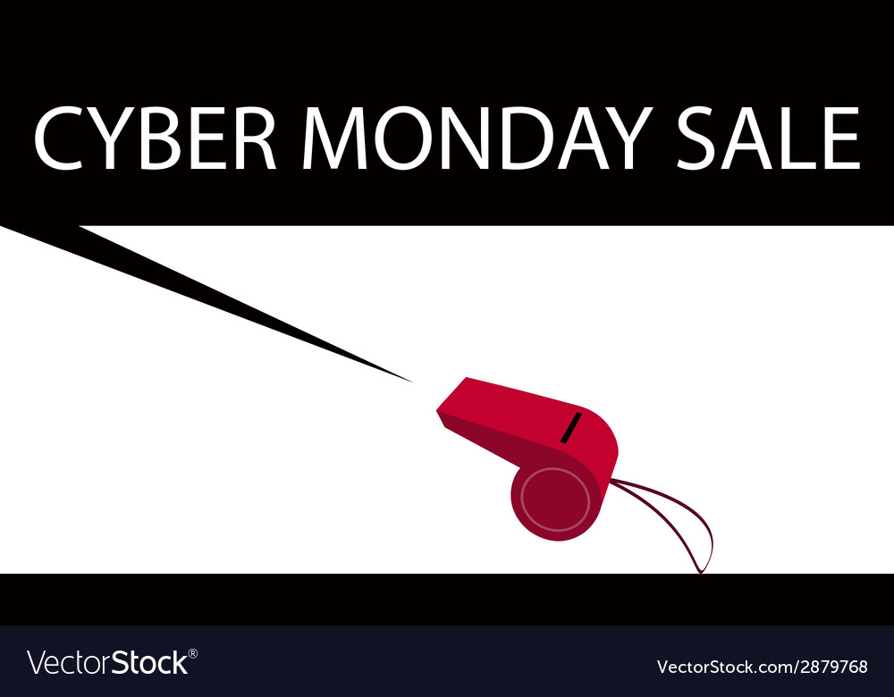 A red whistle blowing cyber monday banner vector | Price: 1 Credit (USD $1)