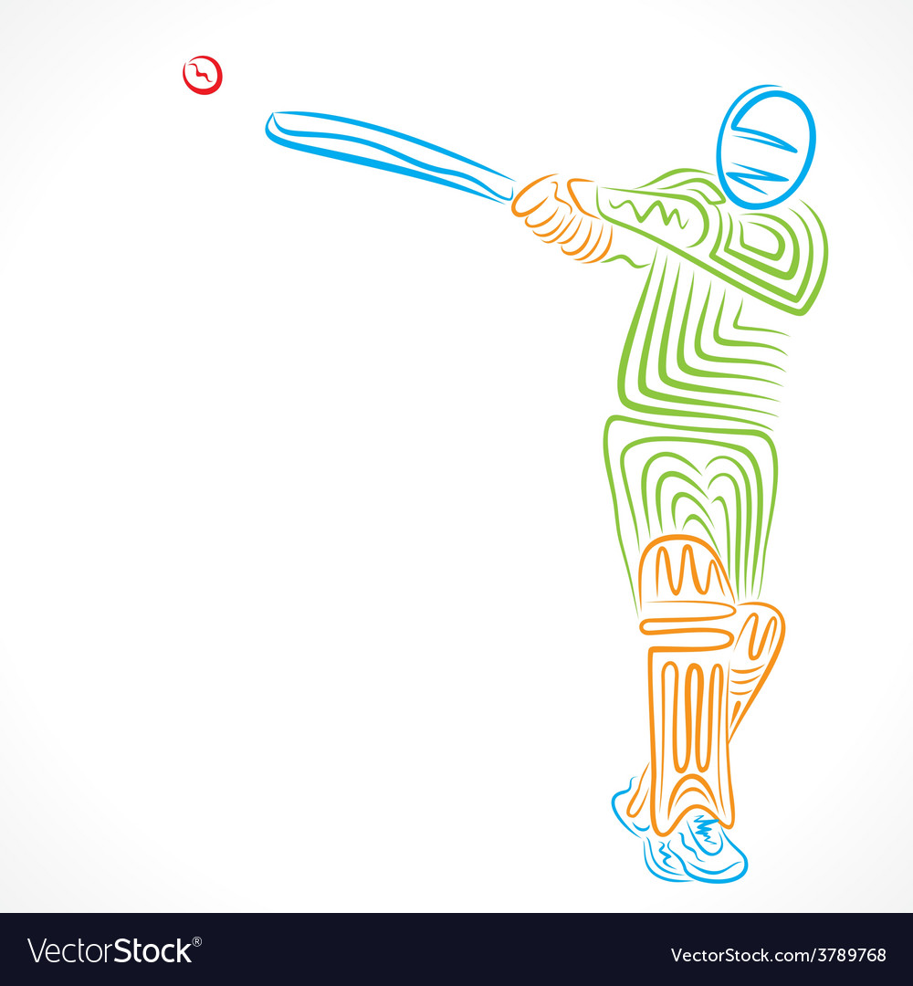 Abstract cricket player design by brush stroke ve vector | Price: 1 Credit (USD $1)