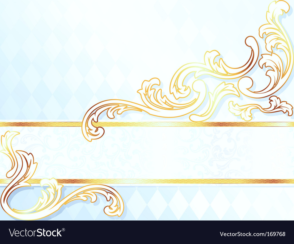 Beautiful horizontal rococo wedding banner vector | Price: 1 Credit (USD $1)