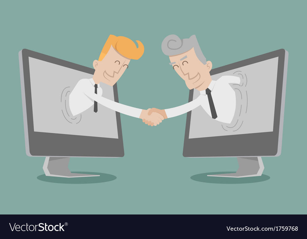 Businessman shake hand online business vector | Price: 1 Credit (USD $1)