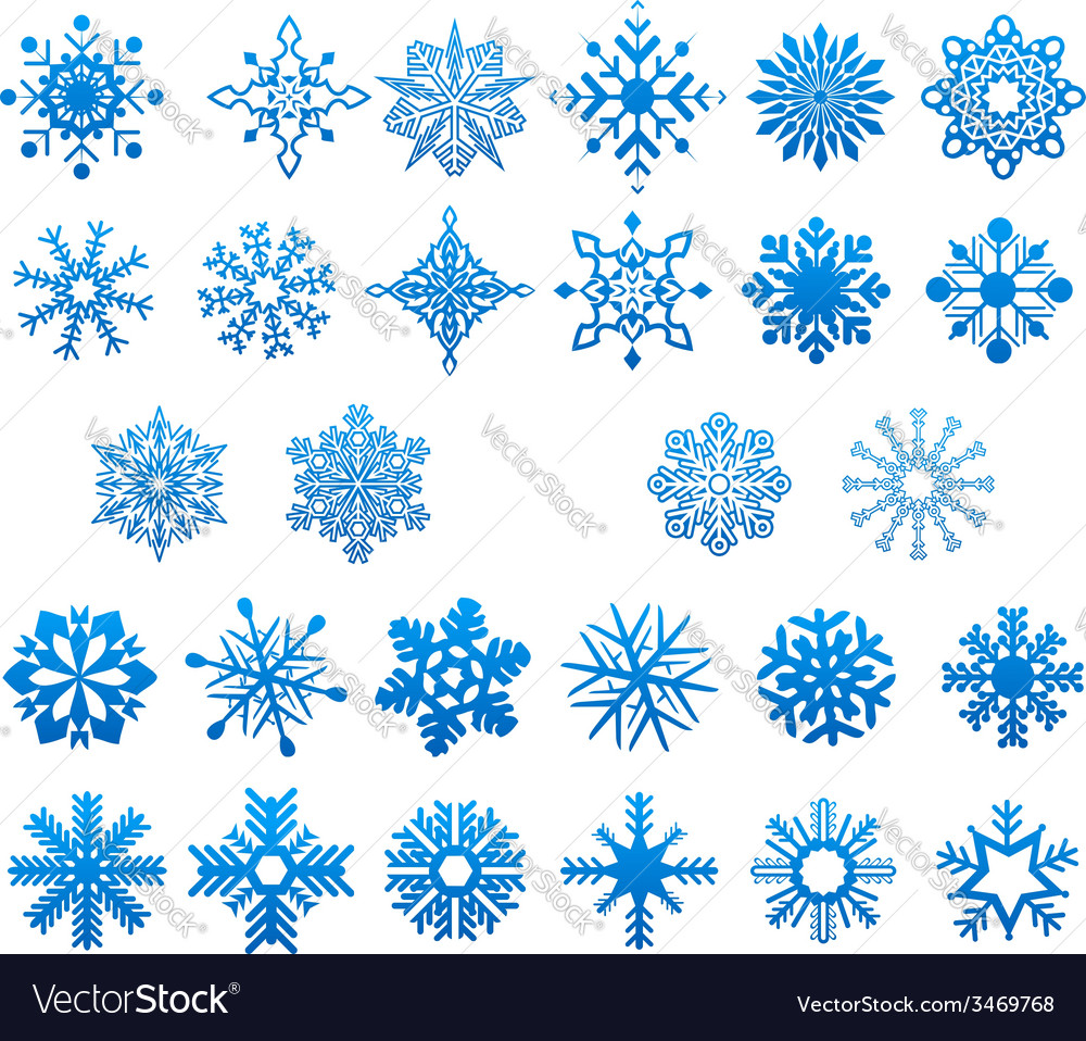 Cool blue snowflakes set vector | Price: 1 Credit (USD $1)