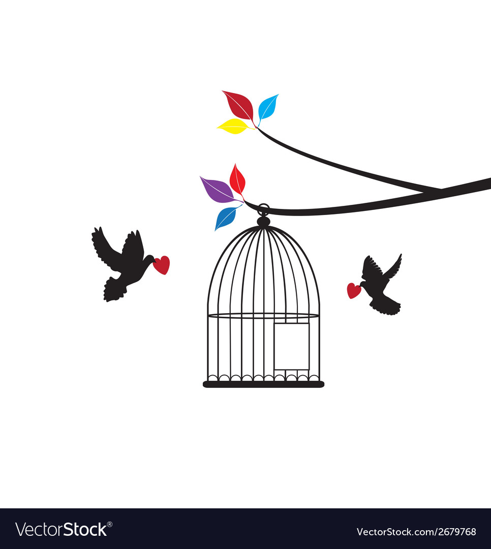 Doves and cage vector | Price: 1 Credit (USD $1)