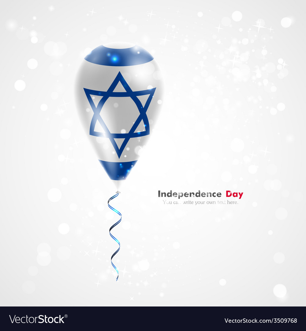 Flag of israel on balloon vector | Price: 1 Credit (USD $1)
