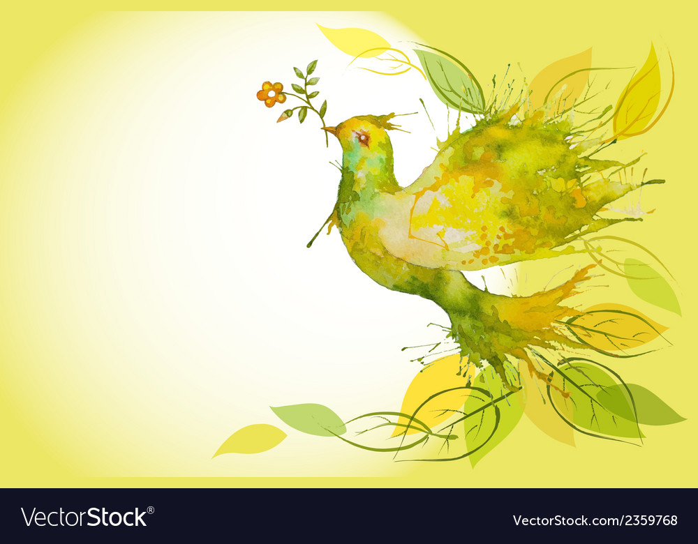 Flying green dove - horizontal background vector | Price: 1 Credit (USD $1)
