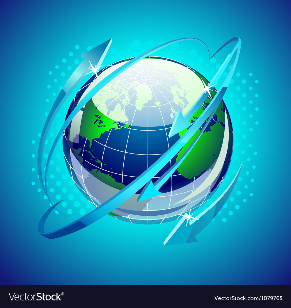 Globe with arrows around it vector | Price: 1 Credit (USD $1)