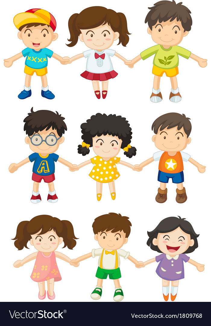 Kids holding their hands vector | Price: 1 Credit (USD $1)
