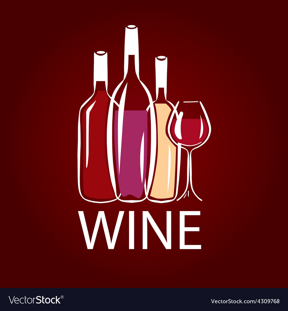 Logo wine bottle and wine glass vector | Price: 1 Credit (USD $1)
