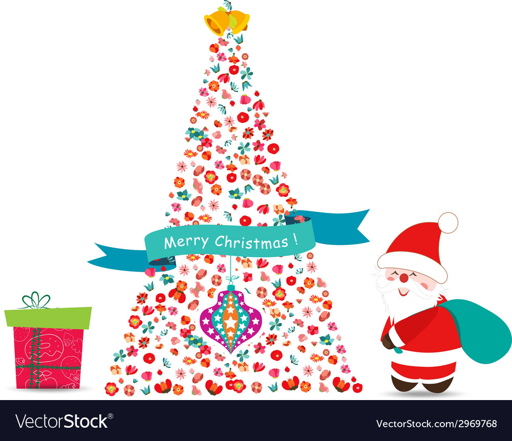 Merry christmas tree with flowers vector | Price: 1 Credit (USD $1)