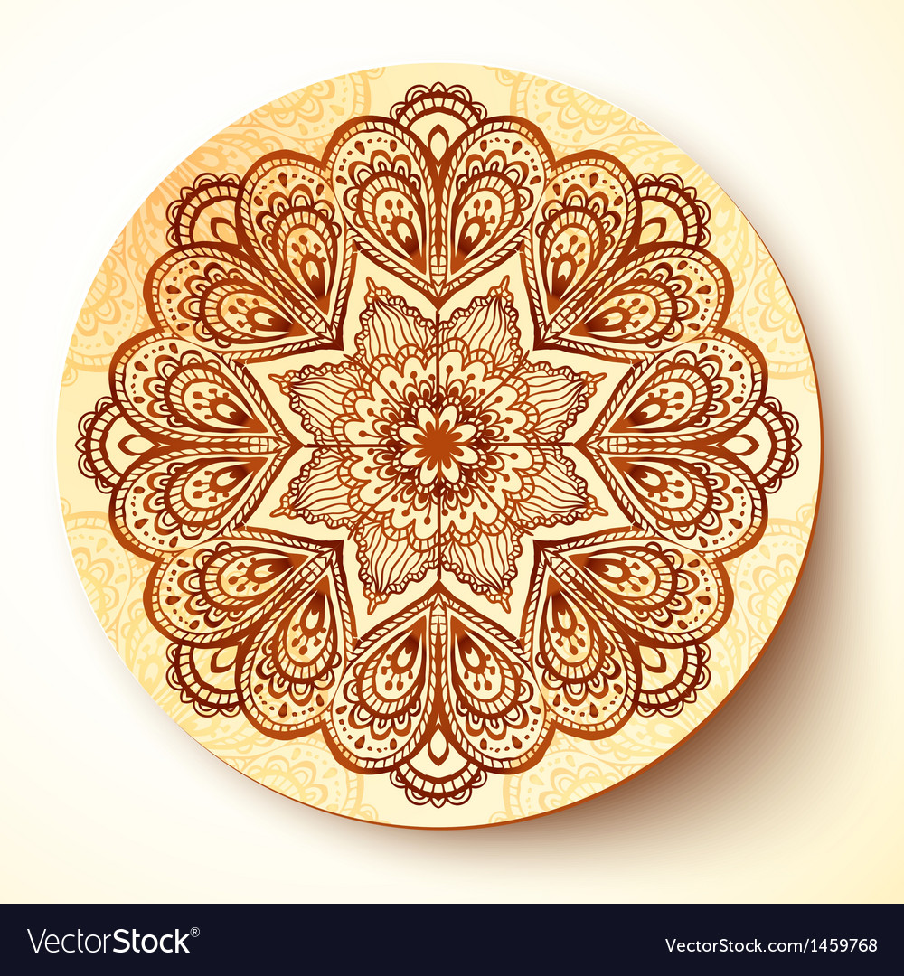 Ornate plate with indian style ornament vector | Price: 1 Credit (USD $1)