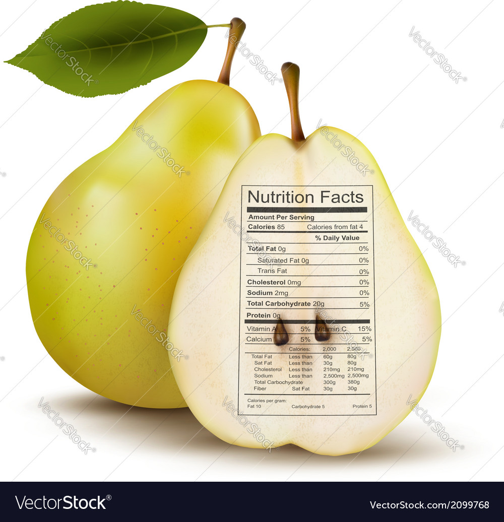 Pear with nutrition facts label concept of healthy vector | Price: 1 Credit (USD $1)