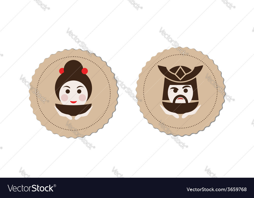 Samurai and geisha tea ceremony logo element vector | Price: 1 Credit (USD $1)
