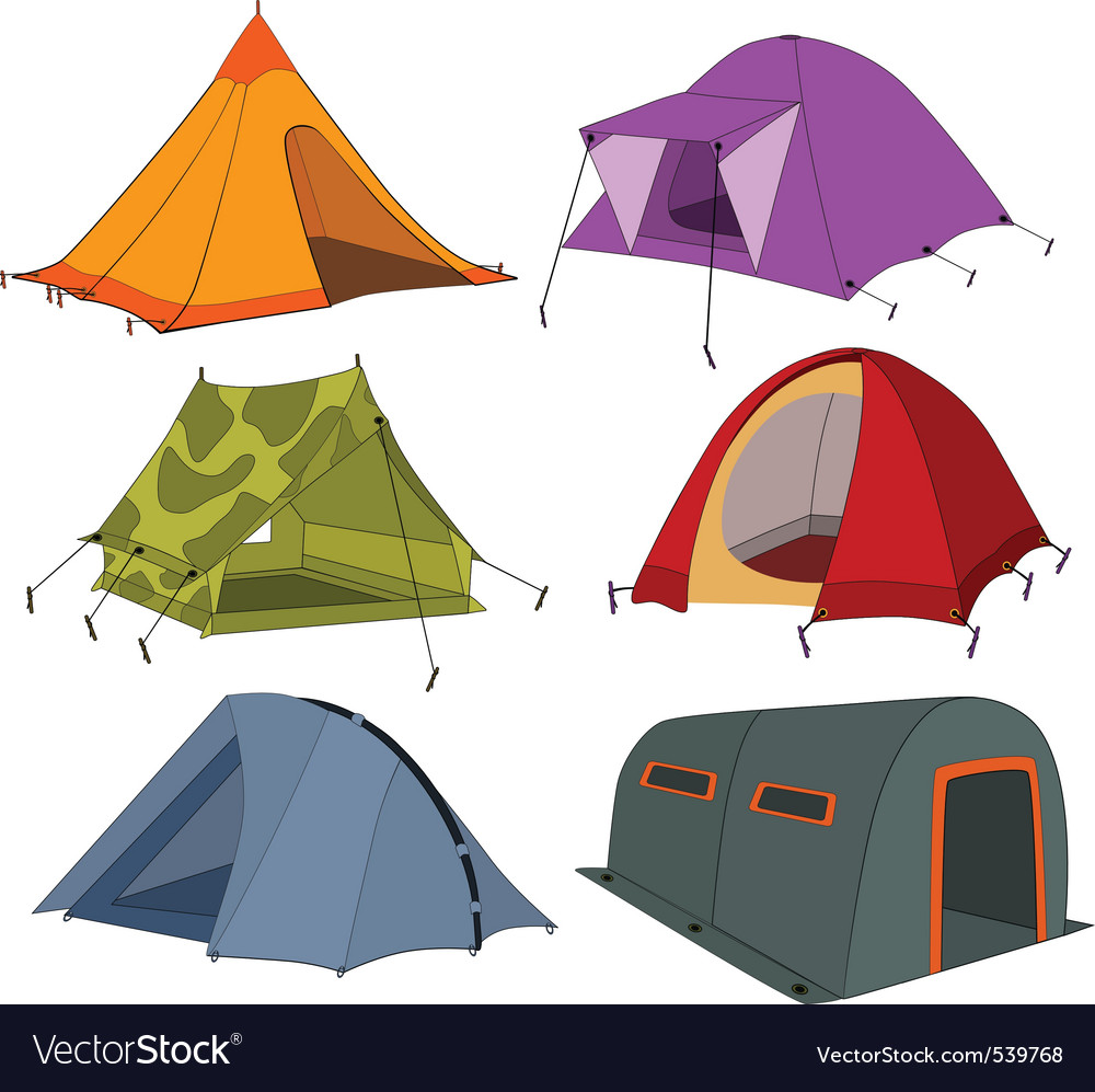 Set of tourist tents vector | Price: 3 Credit (USD $3)
