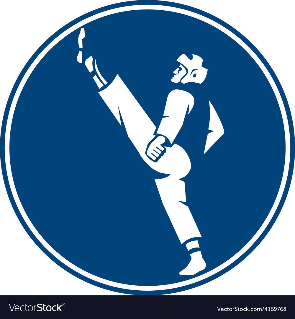 Taekwondo fighter kicking stance circle icon vector | Price: 1 Credit (USD $1)