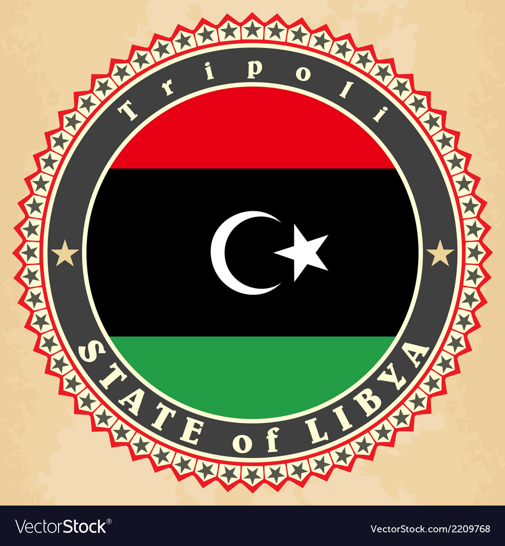 Vintage label cards of libya flag vector | Price: 1 Credit (USD $1)