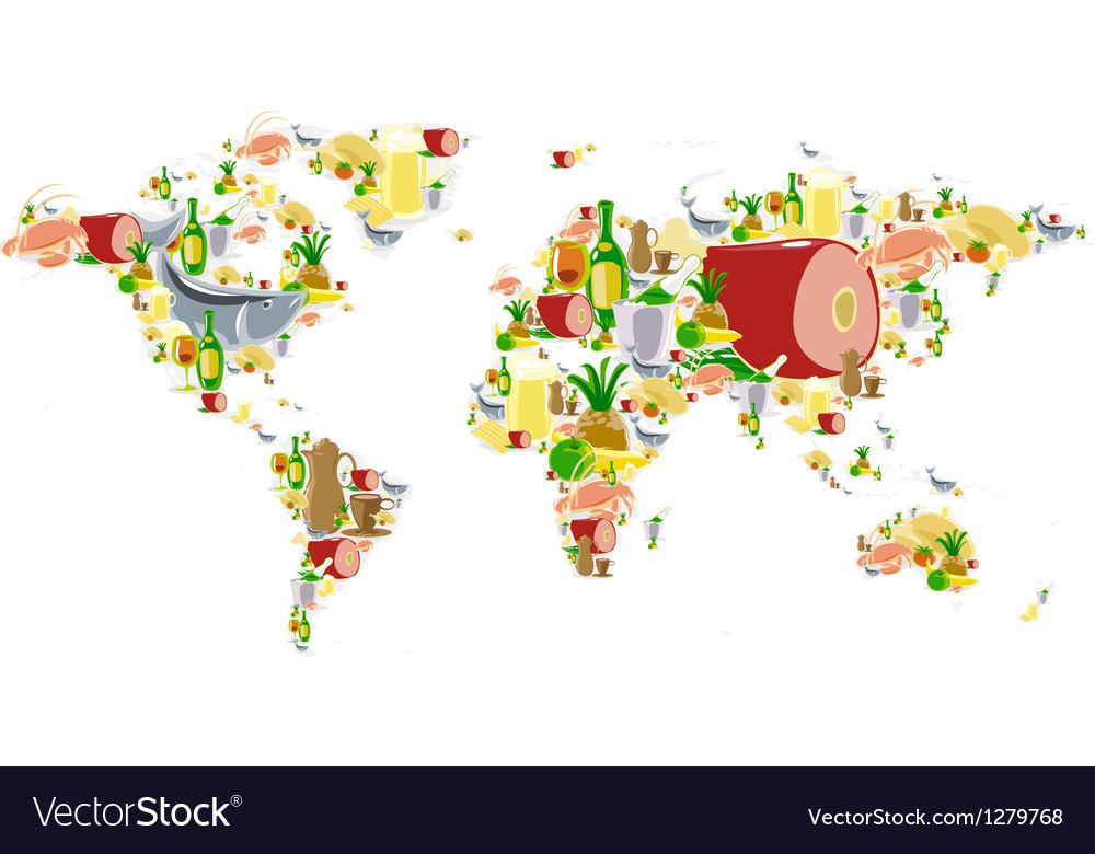 World map with food and drinks vector | Price: 1 Credit (USD $1)