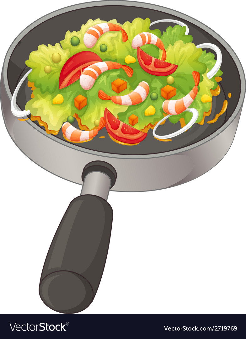 A pan with a food vector | Price: 1 Credit (USD $1)