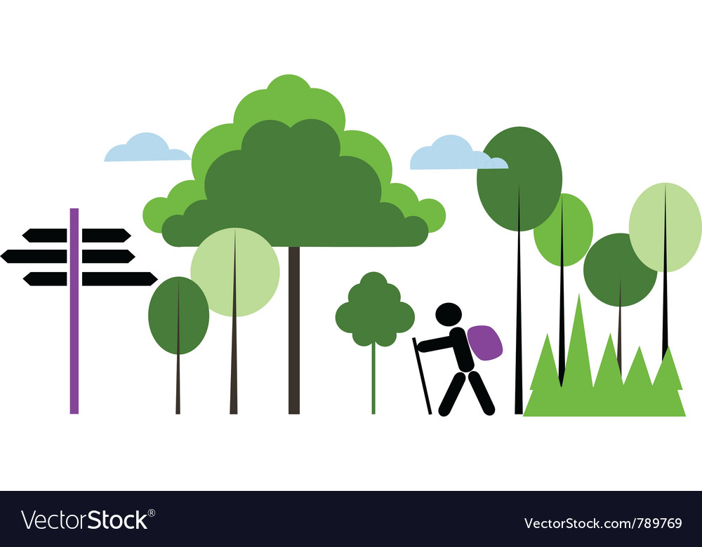 Backpacker with bag in a forest vector | Price: 1 Credit (USD $1)