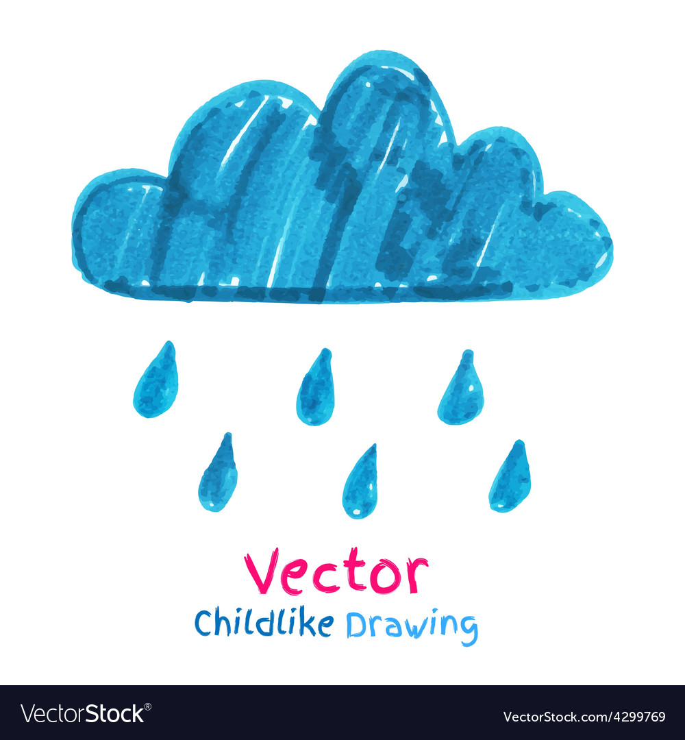 Childlike drawing of rainy cloud vector | Price: 1 Credit (USD $1)