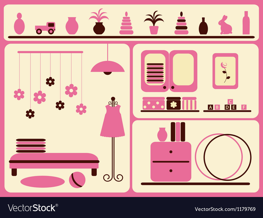 Childrens room interior and objects set vector | Price: 1 Credit (USD $1)