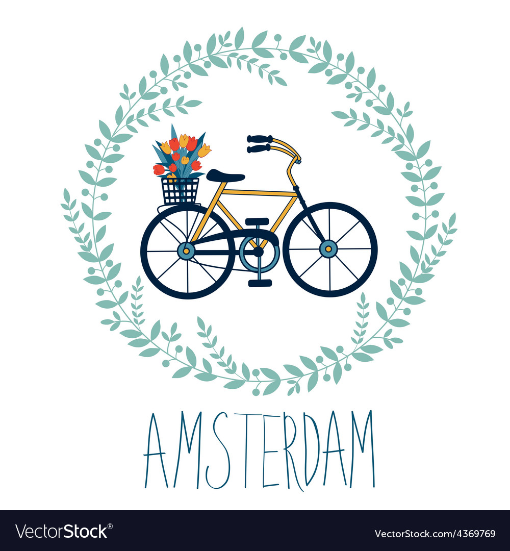 Cute amsterdam card with tulips in bycicle basket vector | Price: 1 Credit (USD $1)
