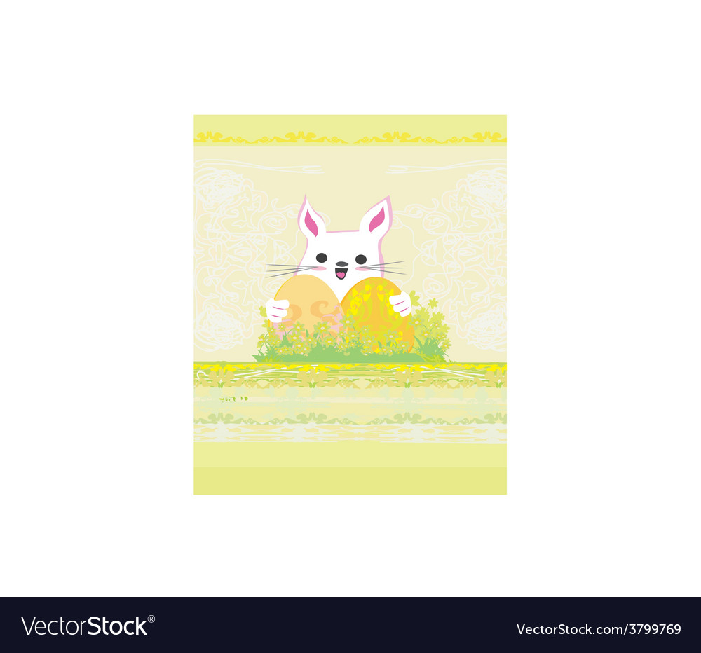Happy easter bunny carrying egg vector | Price: 1 Credit (USD $1)