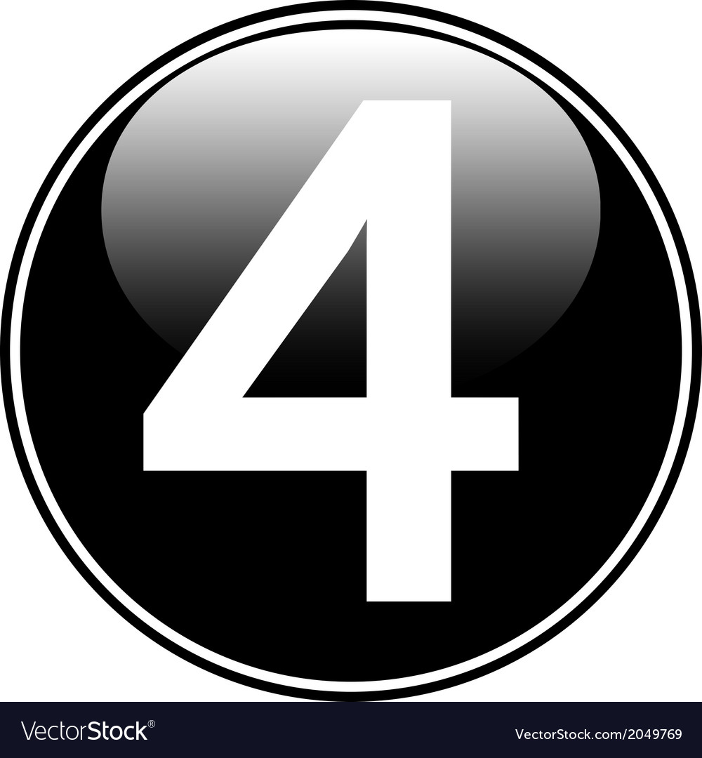 Number four button vector | Price: 1 Credit (USD $1)