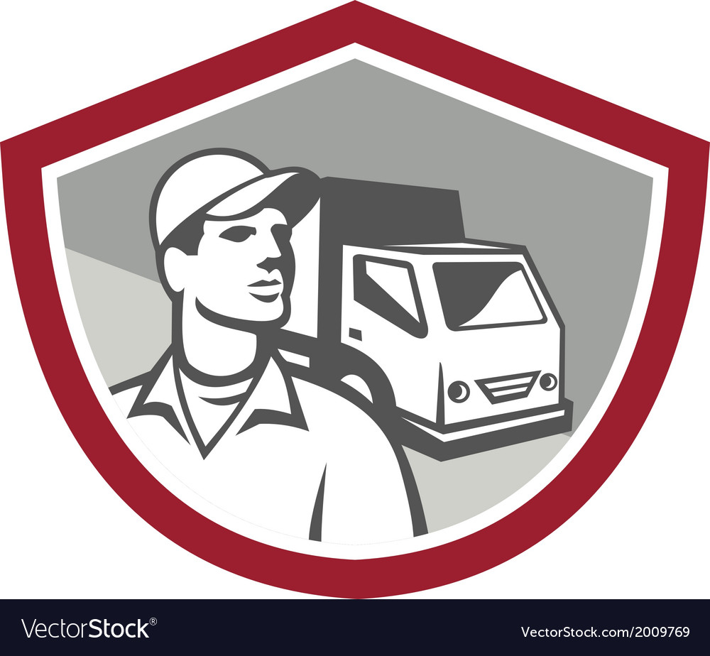 Removal man delivery van shield retro vector | Price: 1 Credit (USD $1)