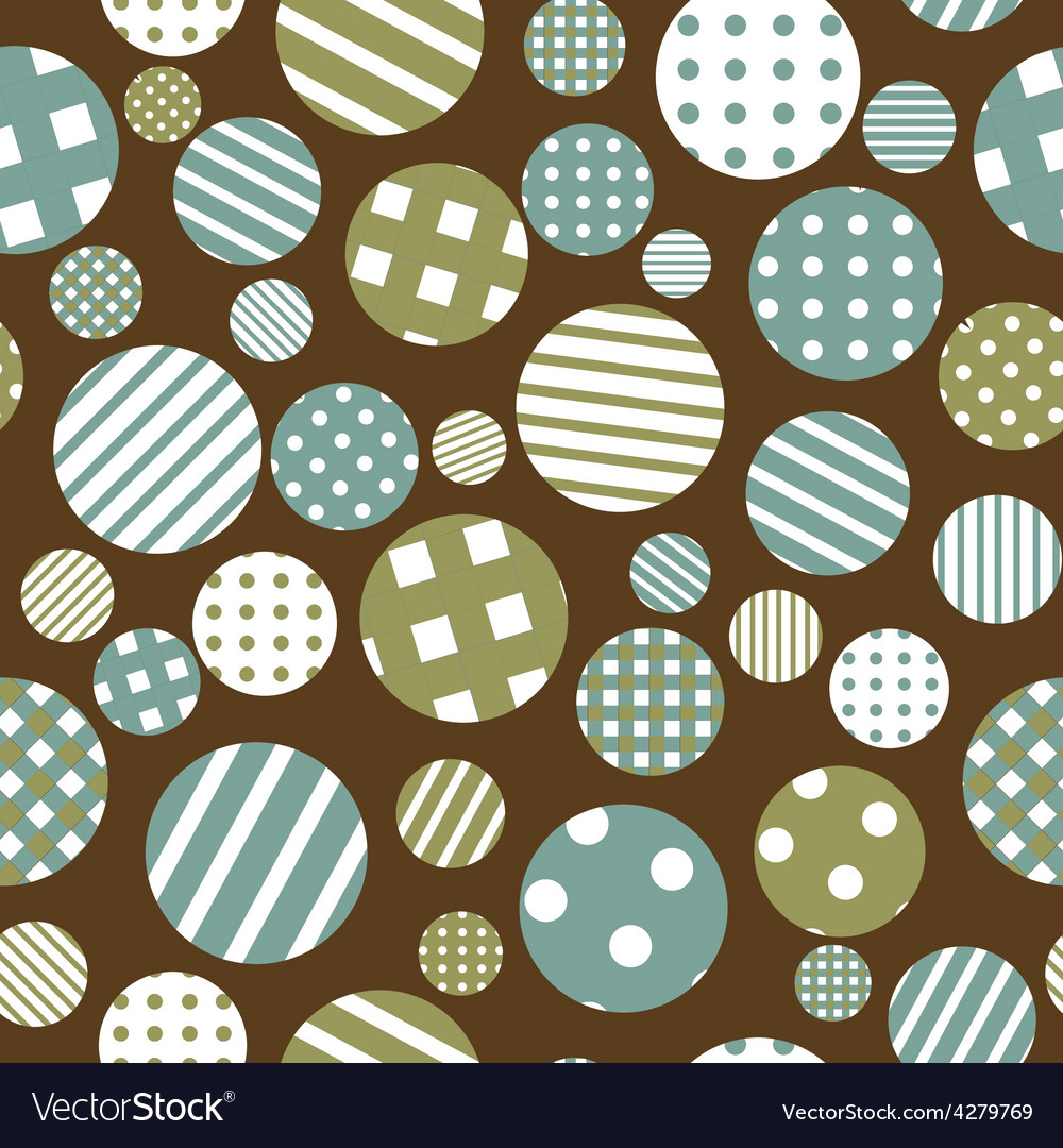 Seamless background with patterned round shapes vector | Price: 1 Credit (USD $1)