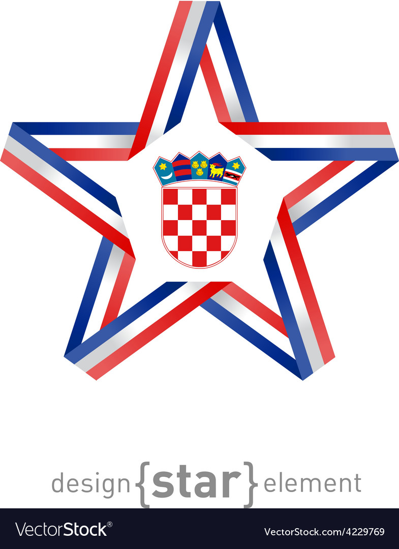 Star with croatia flag colors and symbols design vector | Price: 1 Credit (USD $1)
