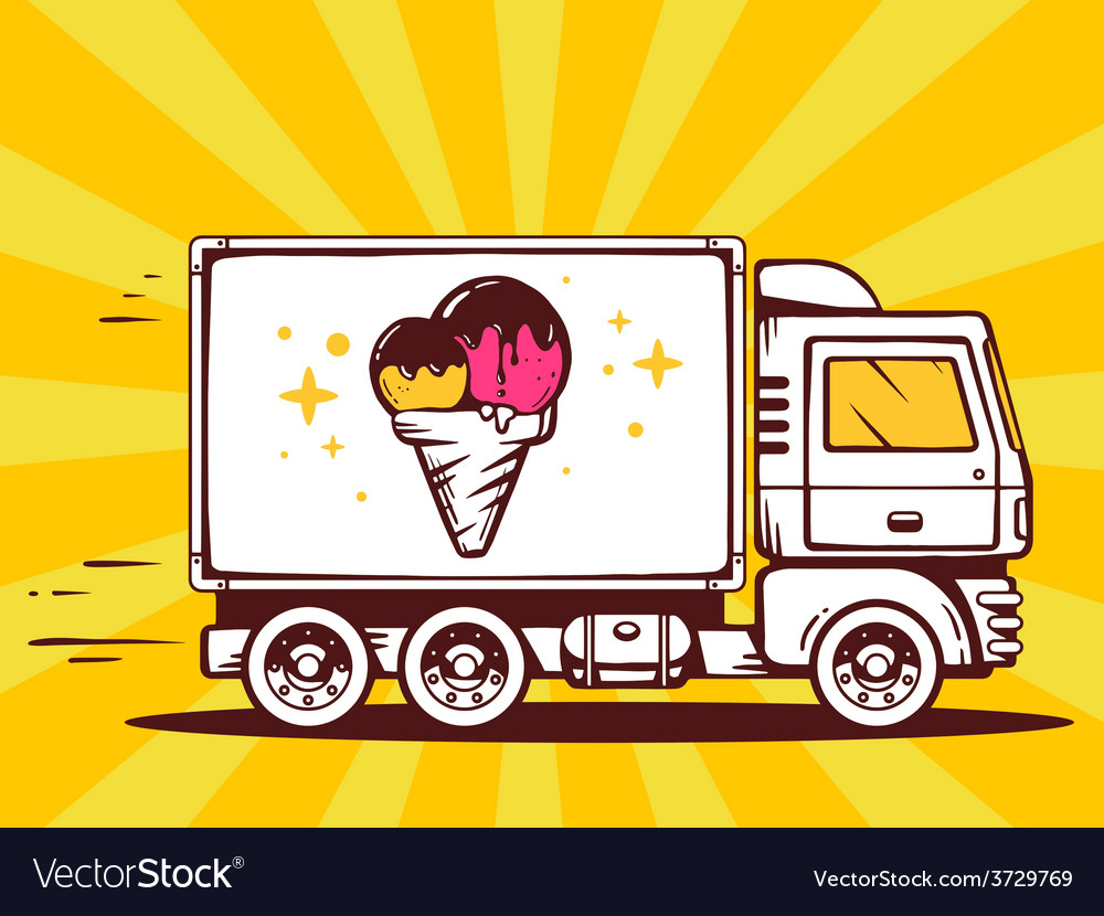 Truck free and fast delivering ice cream vector | Price: 1 Credit (USD $1)
