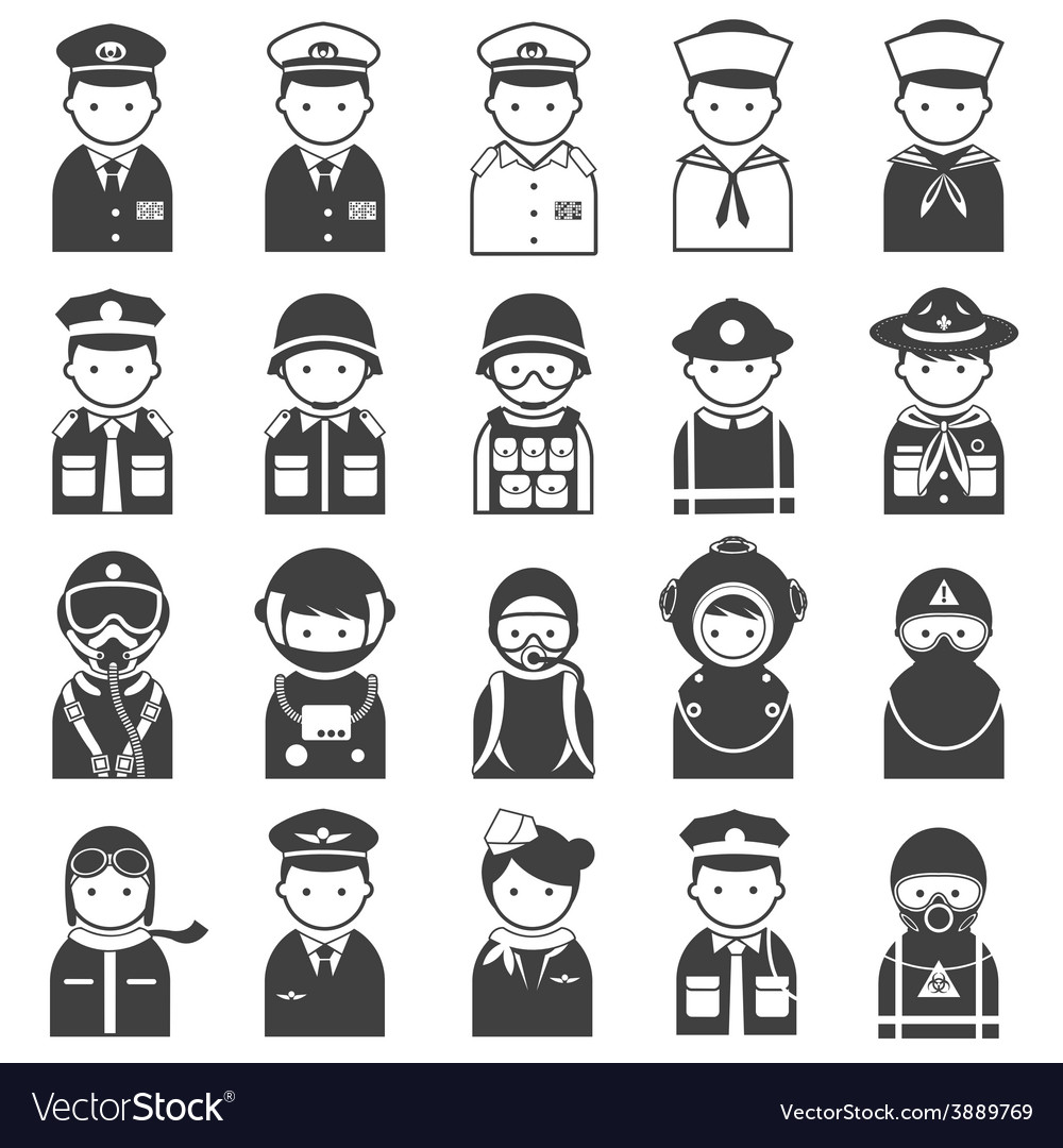 Various people symbol icons officer and uniform vector | Price: 1 Credit (USD $1)