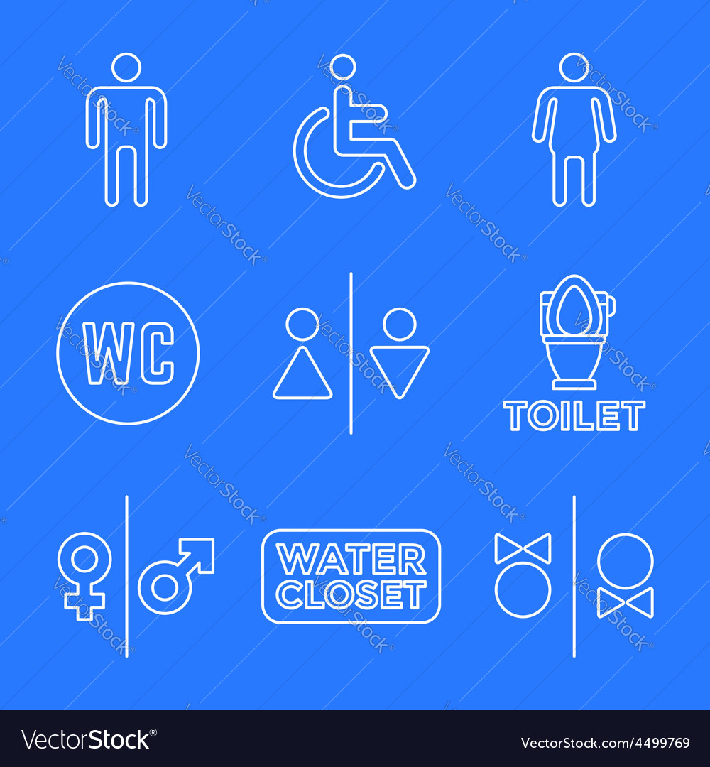 Various white color line water closet signs toilet vector | Price: 1 Credit (USD $1)